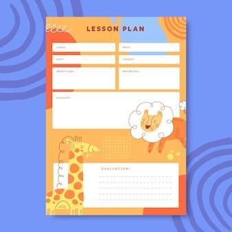Plan de leçon mignon animal préscolaire coloré
