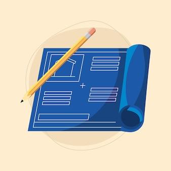 Plan de maison et crayon