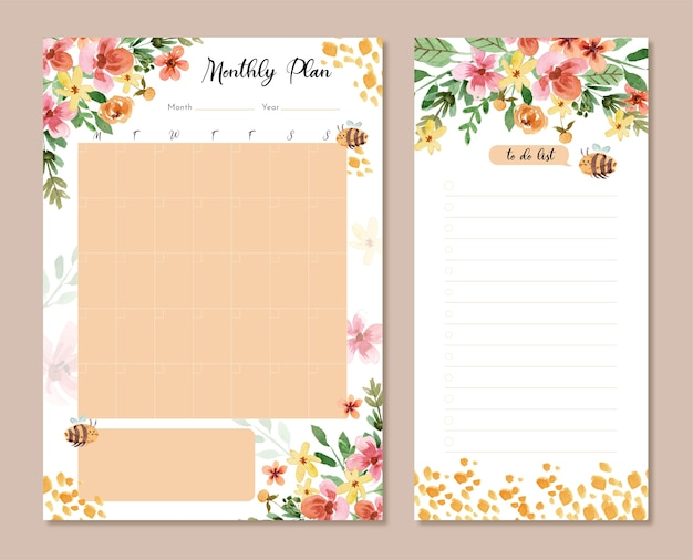 Plan mensuel d'aquarelle de fleurs jaunes et d'abeilles et liste de tâches
