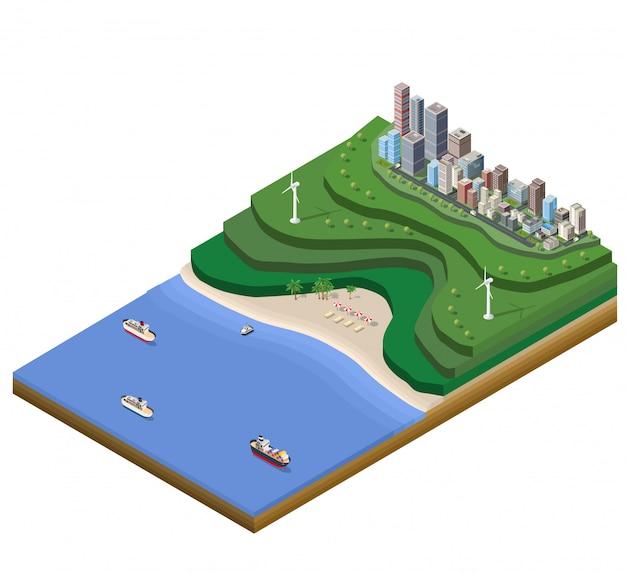 Plan de paysage grande ville sur la carte avec les montagnes