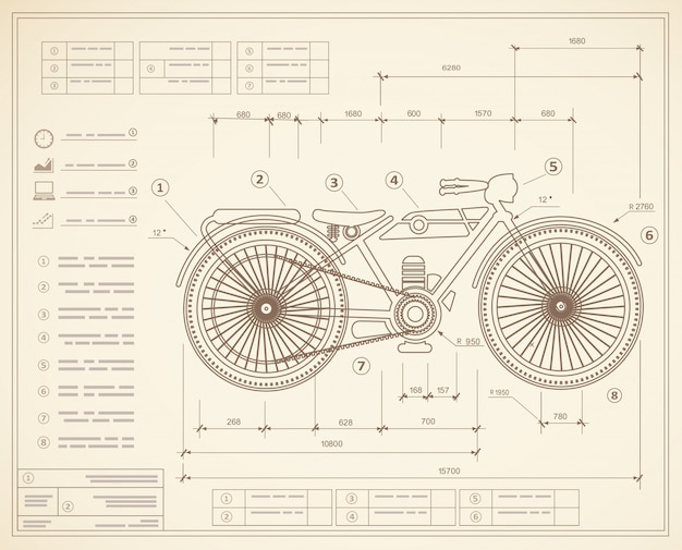 Plan de plan aperçu projet de moto de moto.