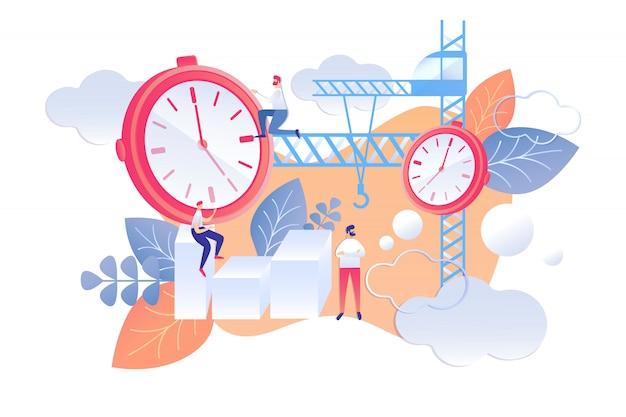 Plan plat de dessin animé pour la gestion du temps du lendemain.