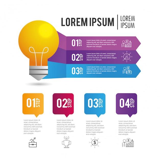 Plan de rapport d'activité infographique avec lorem ipsum