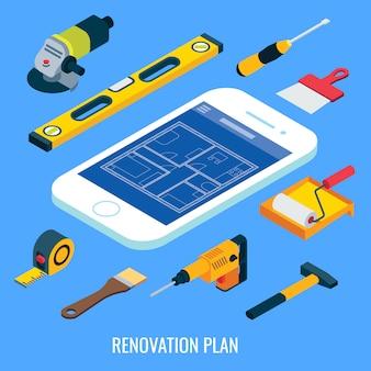 Plan de rénovation plat isométrique