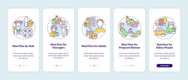 Plan de repas pour différents groupes d'âge lors de l'intégration de l'écran de la page de l'application mobile. instructions graphiques pas à pas en 5 étapes avec des concepts. modèle vectoriel ui, ux, gui avec illustrations linéaires en couleurs