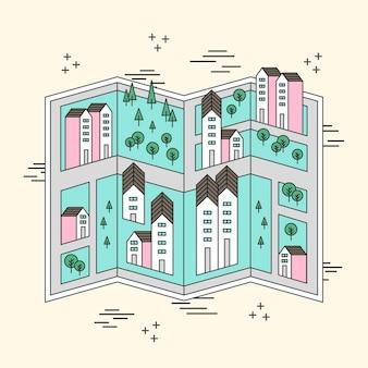 Plan des rues de la petite ville en ligne plate