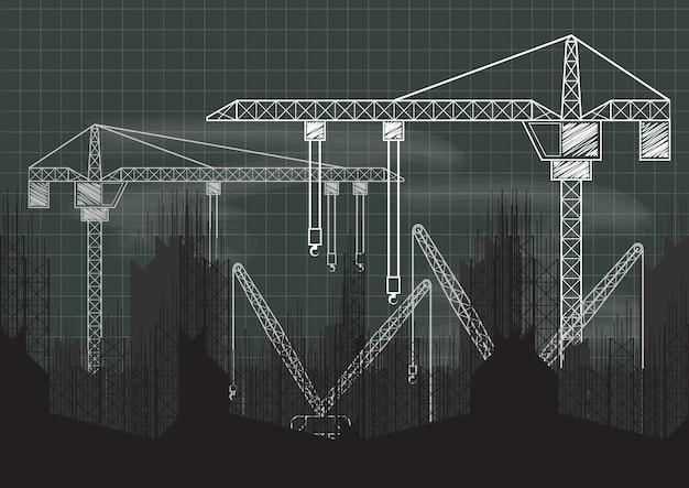 Plan de tableau noir de grue de construction