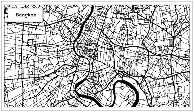 Plan de la ville de bangkok thaïlande en noir et blanc. carte de contour.