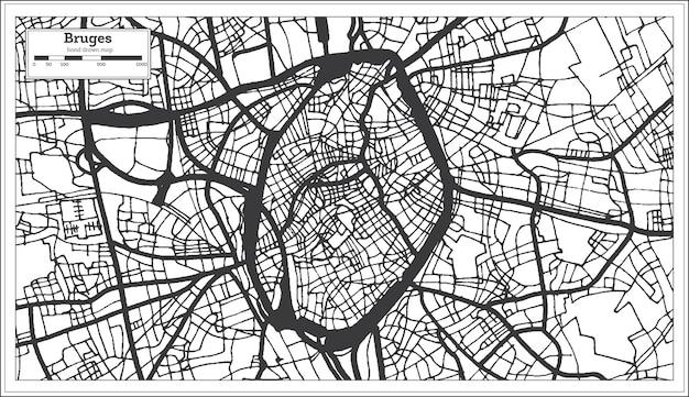 Plan de la ville de bruges belgique en couleur noir et blanc. carte muette. illustration vectorielle.
