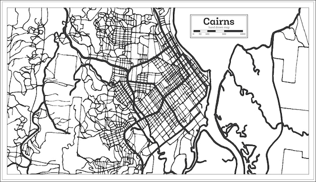 Plan de la ville de cairns australie en couleur noir et blanc. carte muette. illustration vectorielle.