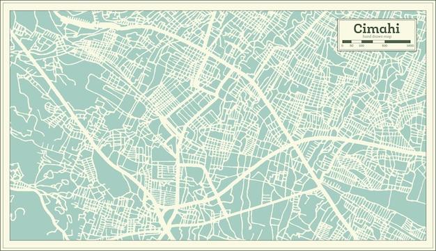 Plan de la ville de cimahi indonésie dans un style rétro. carte muette. illustration vectorielle.