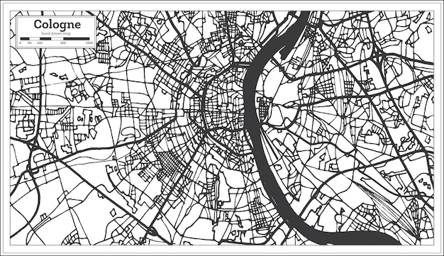 Plan de la ville de cologne allemagne dans un style rétro. carte muette. illustration vectorielle.