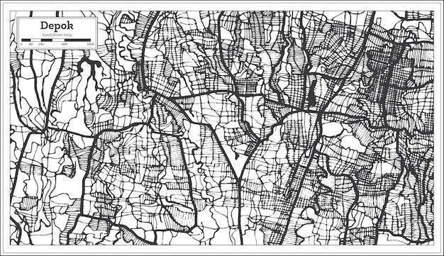Plan de la ville de depok indonésie en couleur noir et blanc