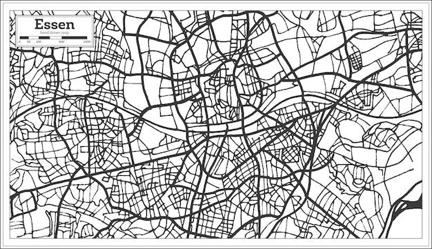 Plan de la ville d'essen allemagne dans un style rétro. carte muette. illustration vectorielle.