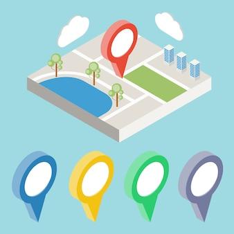 Plan de la ville avec des icônes gps. gps isométrique