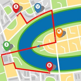 Plan d'une ville imaginaire avec une rivière et un itinéraire à plusieurs arrêts. illustration vectorielle.
