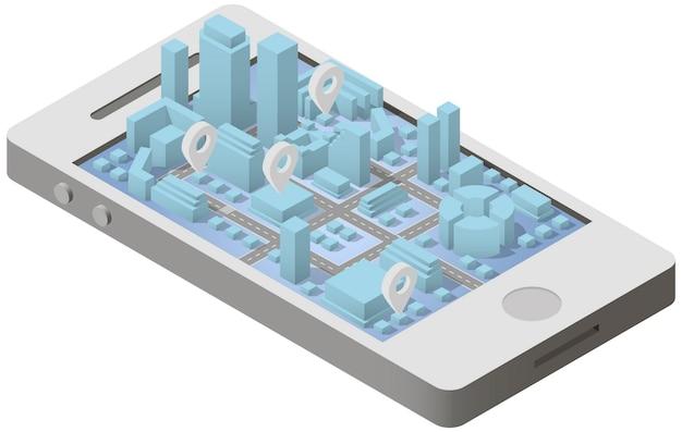 Plan de ville isométrique sur smartphone