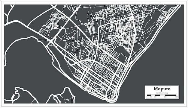 Plan de la ville de maputo mozambique dans un style rétro. carte muette. illustration vectorielle.
