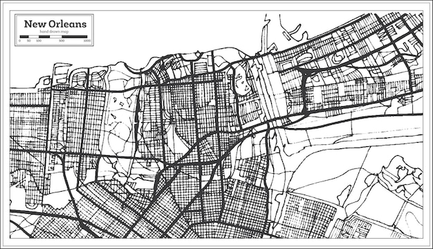 Plan de la ville de la nouvelle-orléans en louisiane usa dans un style rétro. carte de contour.