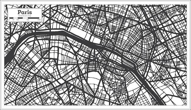 Plan de la ville de paris france dans un style rétro en couleur noir et blanc. carte muette. illustration vectorielle.