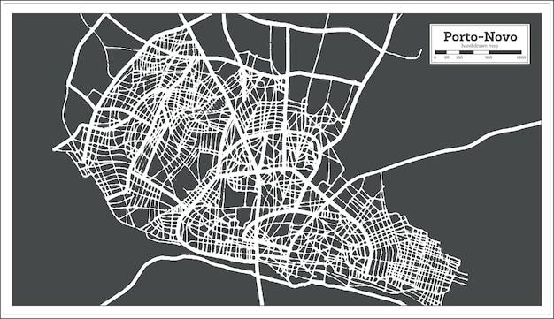 Plan de la ville de porto novo bénin dans un style rétro. carte muette. illustration vectorielle.