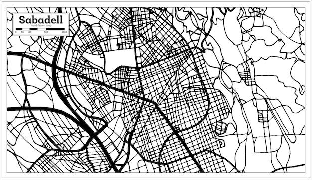 Plan de la ville de sabadell espagne dans un style rétro. carte de contour.