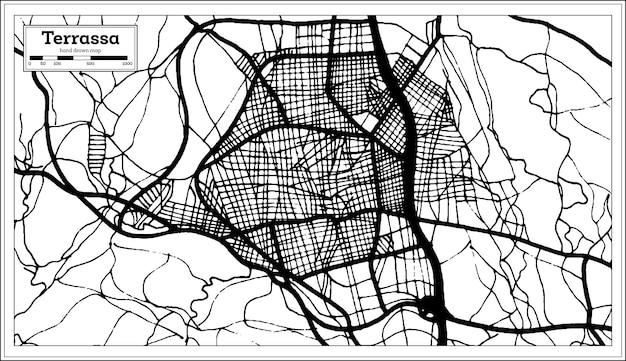 Plan de la ville de terrassa espagne dans un style rétro. carte muette. illustration vectorielle.