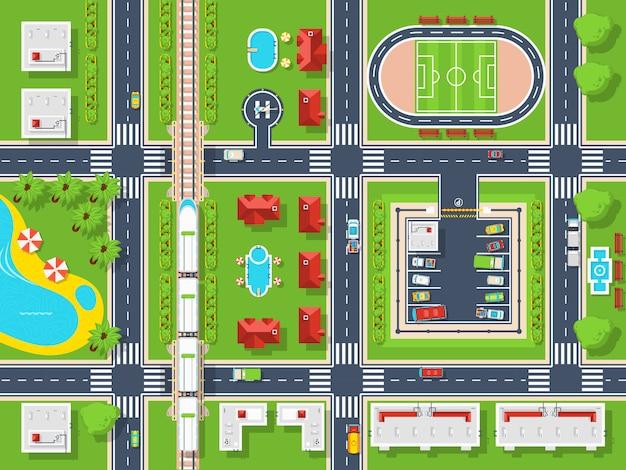 Plan de la ville vue de dessus