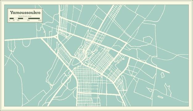 Plan de la ville de yamoussoukro côte d'ivoire dans un style rétro. carte muette. illustration vectorielle.