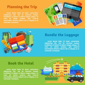 Plan de voyage vacances d'été avec pictogrammes de réservation d'hôtel