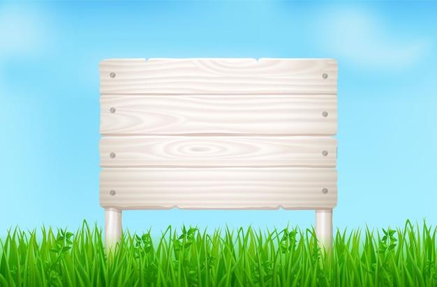 Planche de bois sur champ vert ou pelouse. paysage vectoriel avec herbe et enseigne de planches de bois clair. fond d'été avec panneau de bois et ciel bleu