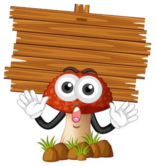 Planche de bois et champignons