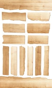 Planche de bois de vecteur isolé sur fond blanc