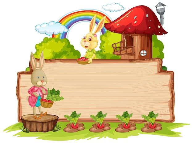 Planche de bois vide avec deux lapins isolés dans le jardin