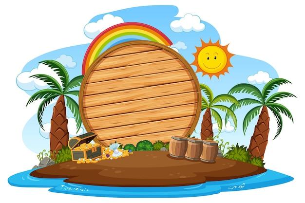 Planche de bois vide sur l'île avec de nombreux palmiers isolés