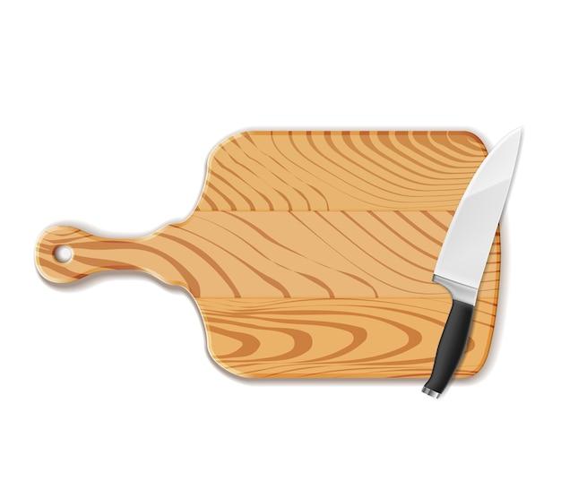 Planche à découper et couteau isolés