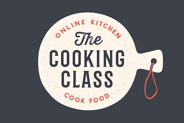 Planche à découper de cuisine avec fond de cours de cuisine