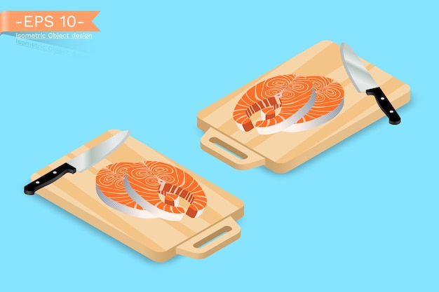 Planche à découper isométrique avec couteau et saumon