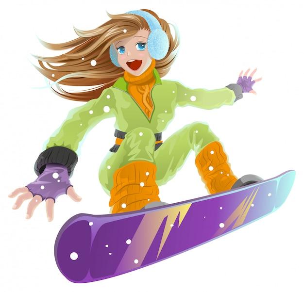 Planche a neige. belle jeune fille heureuse sur snowboard