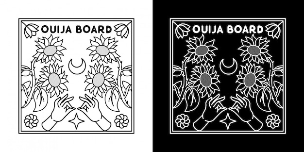 Planche ouija avec design monoline tournesol