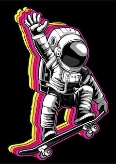 Planche à roulettes astronaute