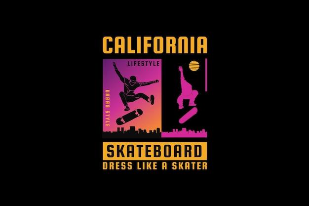Planche à roulettes de californie, style rétro de silhouette de conception