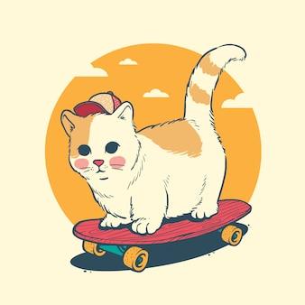 Planche à roulettes chat