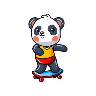Planche à roulettes mignonne de jeu de bande dessinée de petit panda