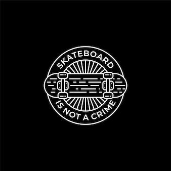 La planche à roulettes n'est pas crime line art stamp logo design