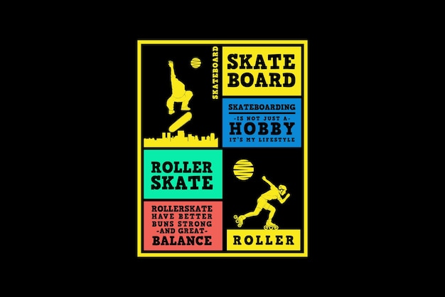 Planche à roulettes et patin à roulettes, style de silhouette de design urbain