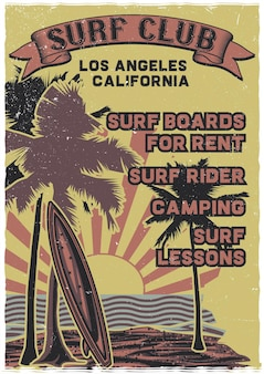 Planche de surf debout sur la plage avec palmiers et coucher de soleil sur le fond