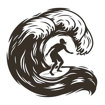 Planche de surf, homme sur une vague. illustration vectorielle de la conception d'impression de t-shirt d'été hawaii