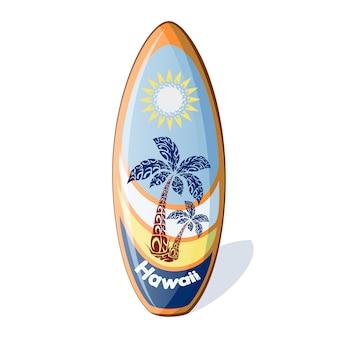 Planche de surf avec un motif des palmiers et du soleil.
