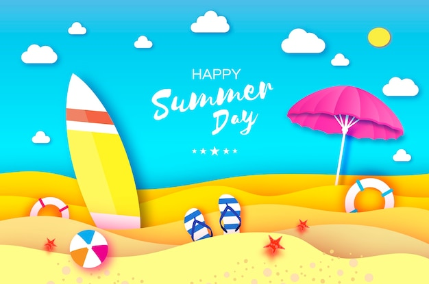 Planche de surf parapluie rose en forme de papier découpé mer et plage en origami avec bouée de sauvetage jeu de balle de sport chaussures tongs concept de vacances et de voyage cadre carré espace pour le texte summertime